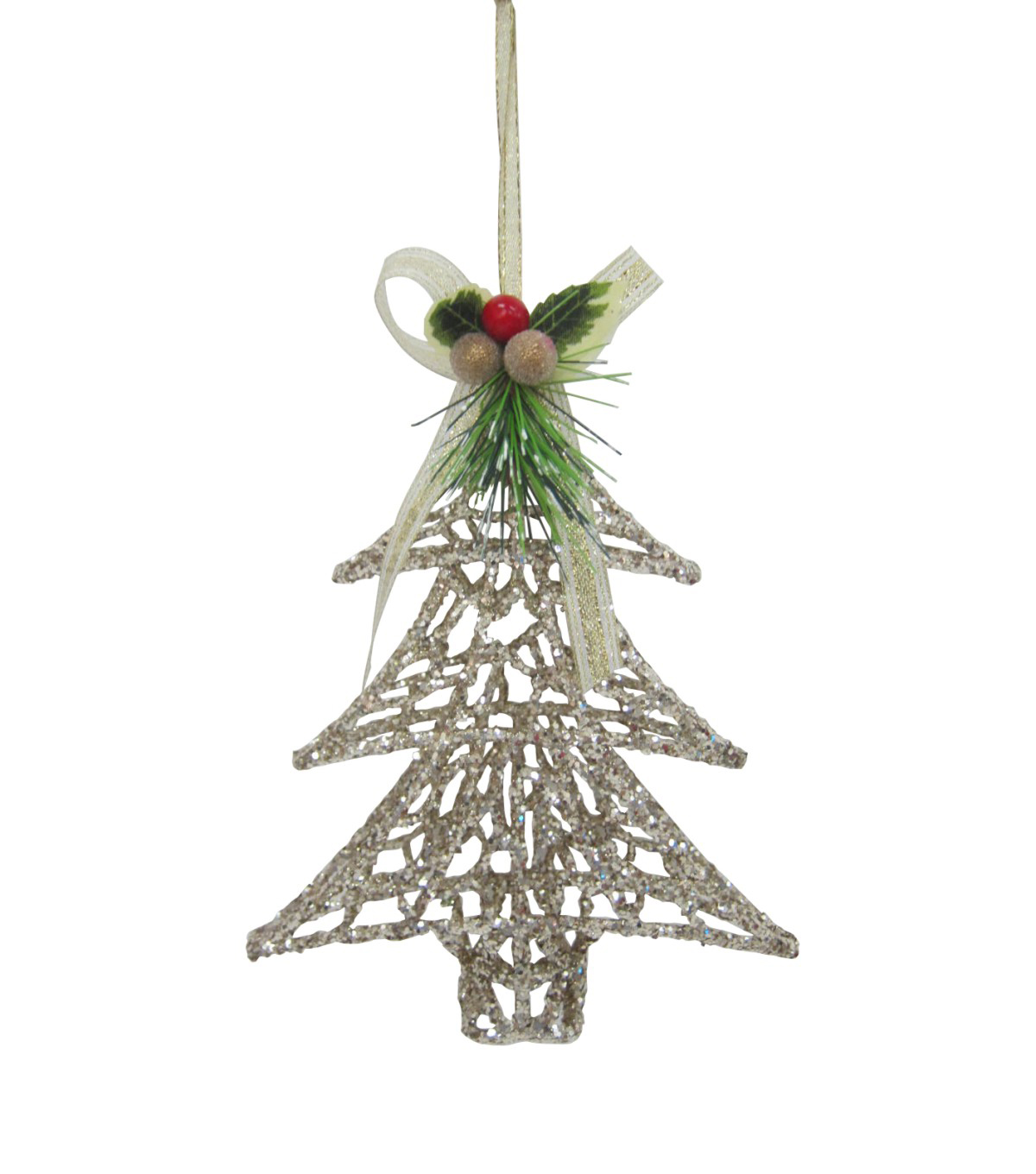 Maker\u0027s Holiday Christmas Glistening Pines Glitter Tree Outline Ornament