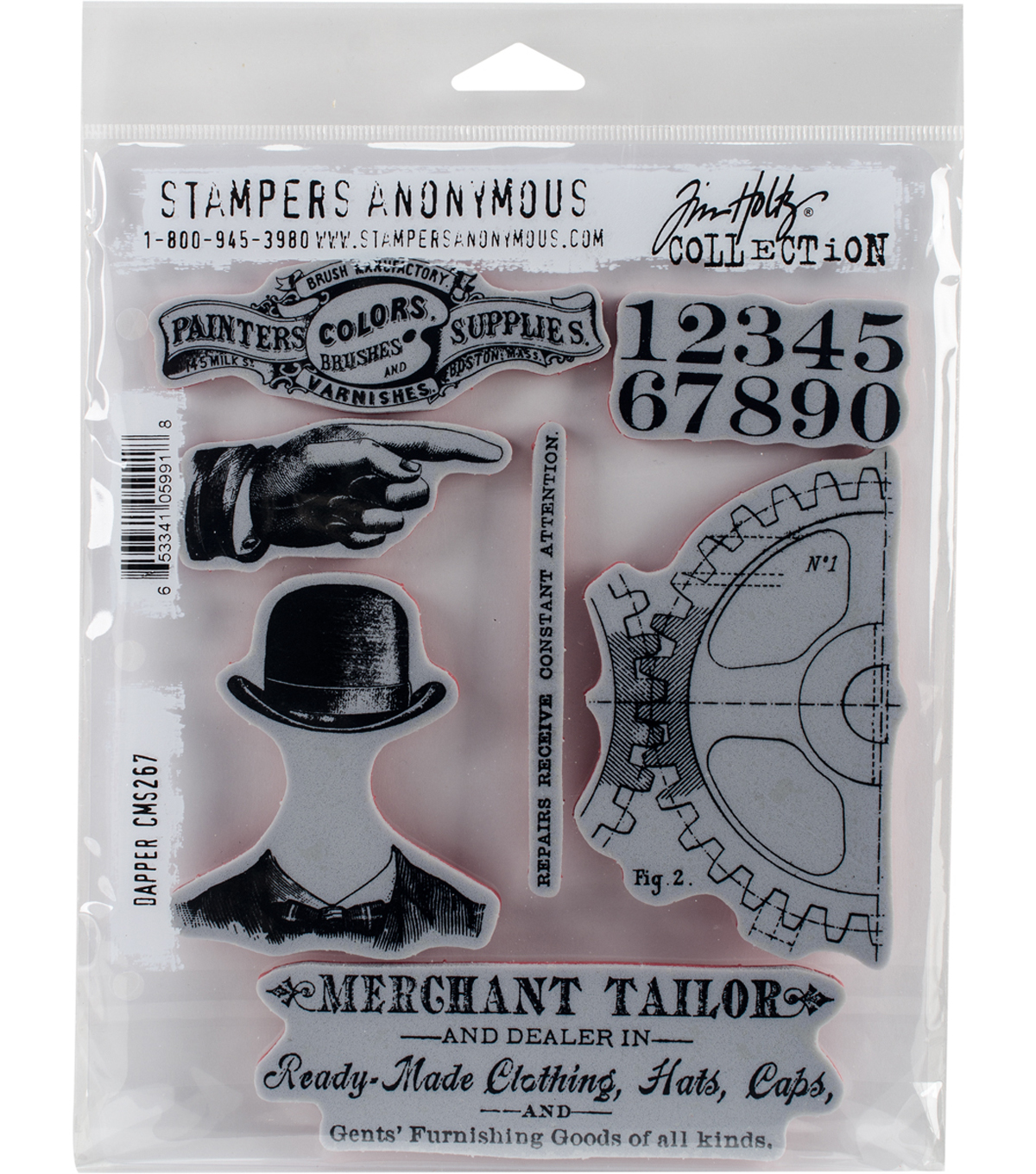 "Tim Holtz Cling Stamps 7""X8.5""-Dapper"