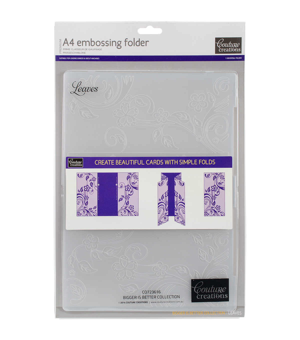 Couture Creations A4 Embossing Folder-Leaves