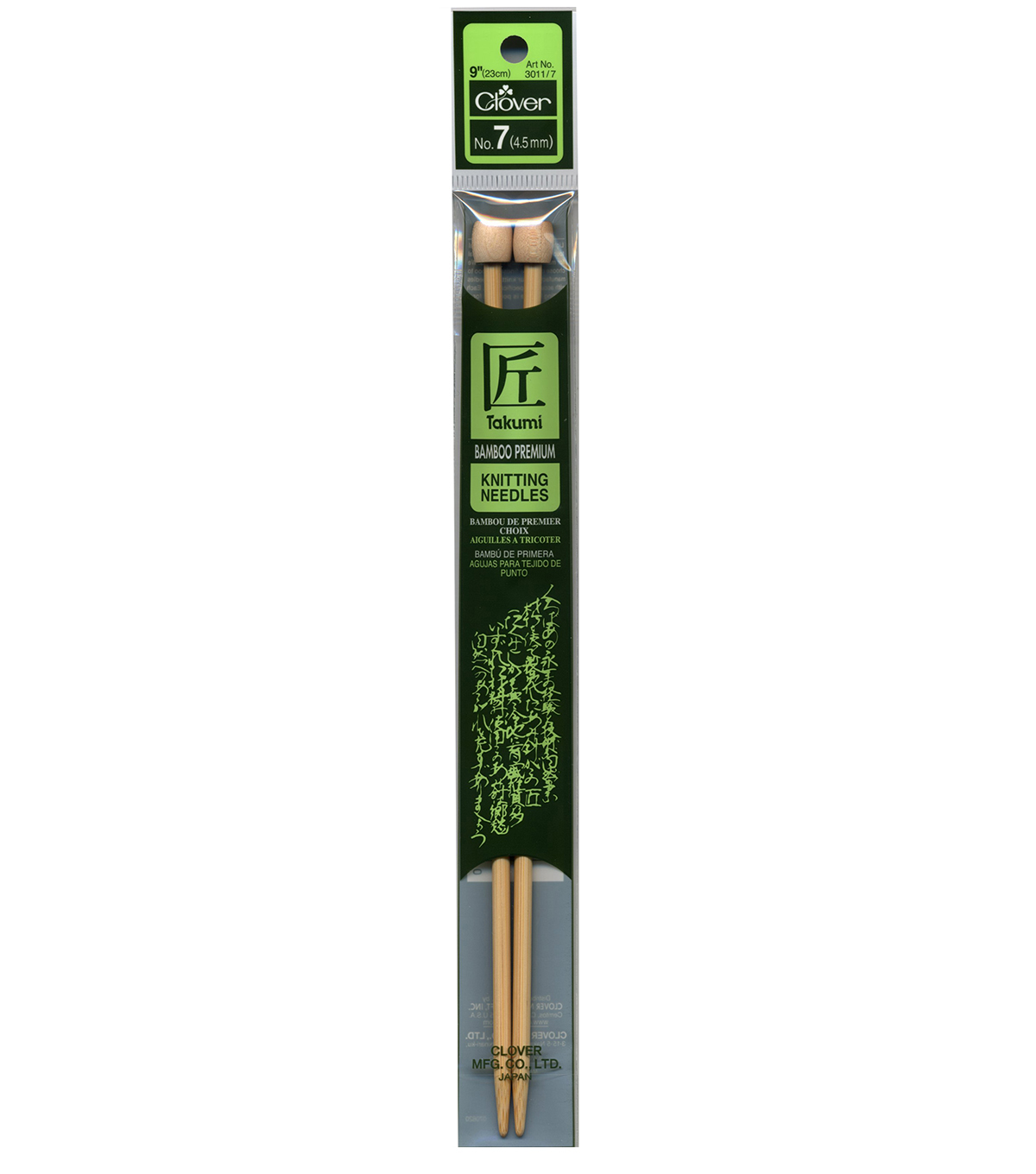 Clover Bamboo Single Point Knitting Needles 9\u0022-Size 7