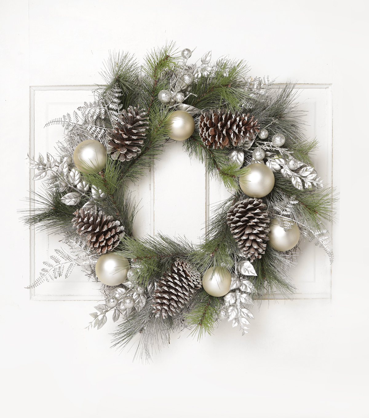 Blooming Holiday 24\u0027\u0027 Grapevine, Pinecone & Berry Wreath-Silver