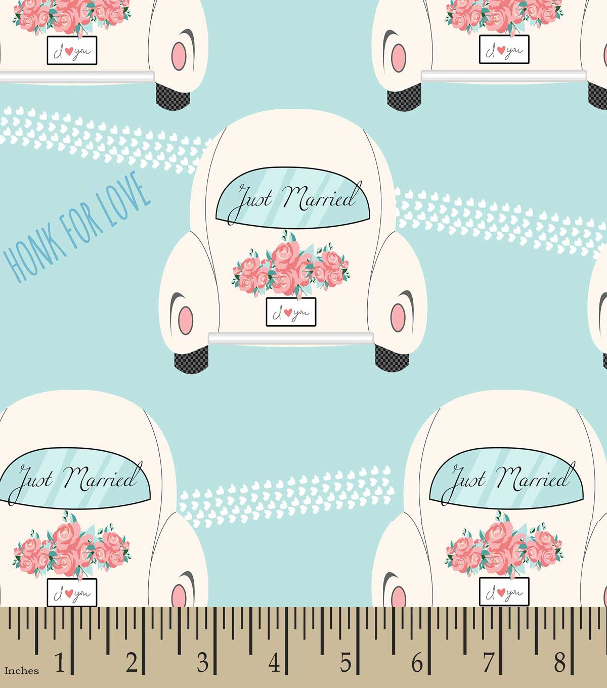 Just Married Car Honk For Love Print Fabric