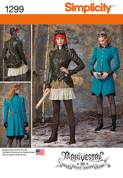 Simplicity Pattern 1299-Misses Costume Coat, Jacket, Bustle and Ruffled Skirts