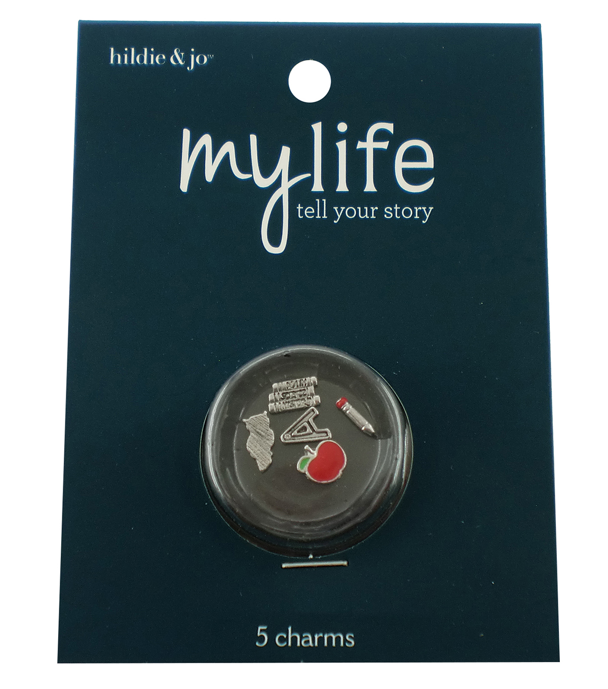 hildie & jo™ My Life 5 Pack Teacher Silver Locket Charms