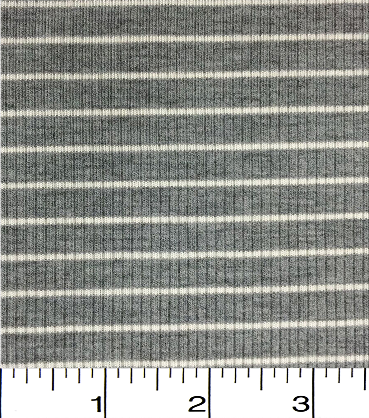 Apparel Knit Fabric-Tiny Ribbed Knit Grey/White Stripe