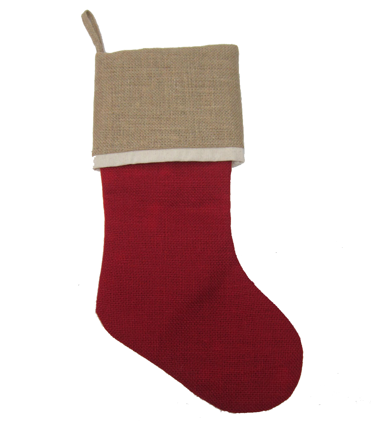 Maker's Holiday Burlap Stocking-Red