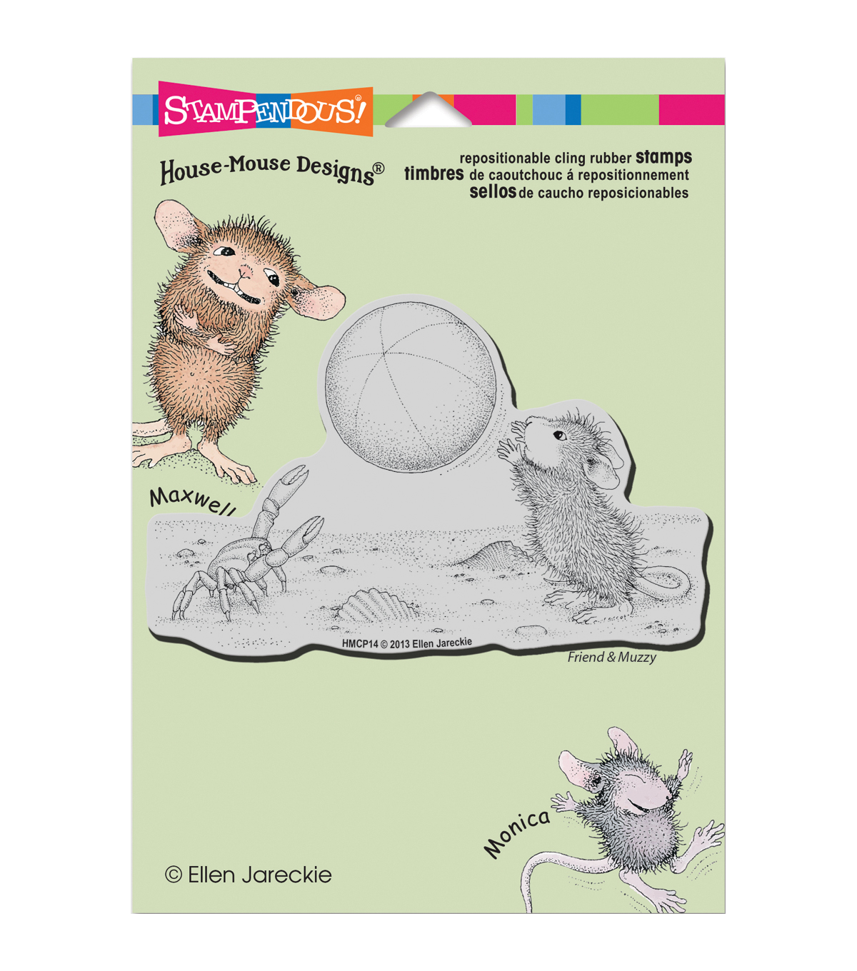 Stampendous House Mouse Cling Rubber Stamp 5.5\u0022X4.5\u0022 Sheet-Beach Toss