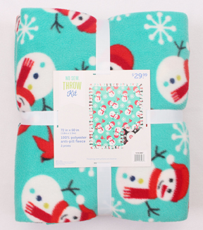 "No Sew Fleece Throw 72""-Happy Little Snowman"