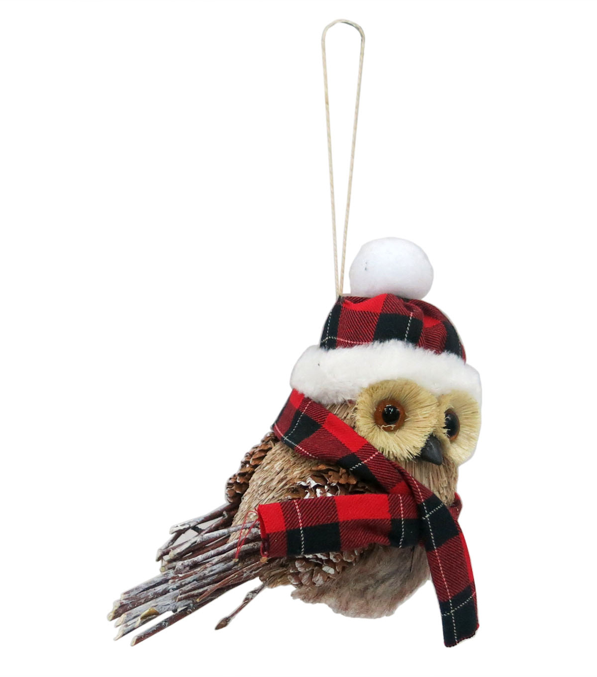 Maker\u0027s Holiday Christmas Woodland Lodge Focal Owl with Plaid Ornament
