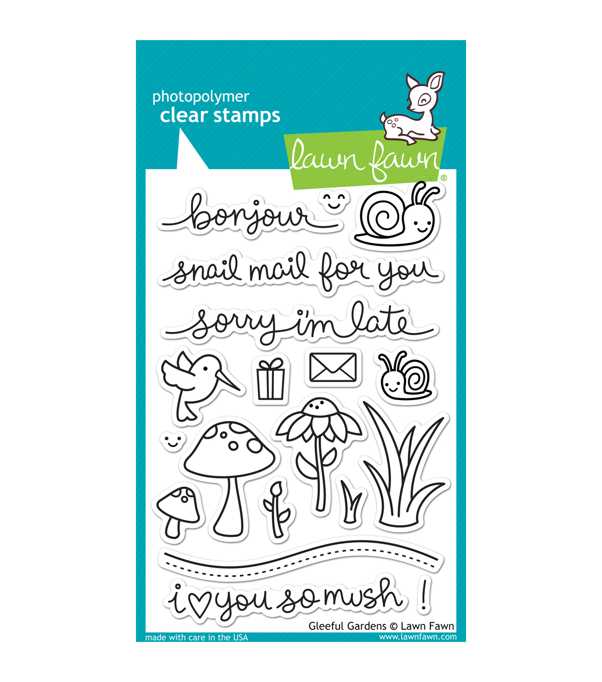 "Lawn Fawn Clear Stamps 4""X6""-Gleeful Gardens"