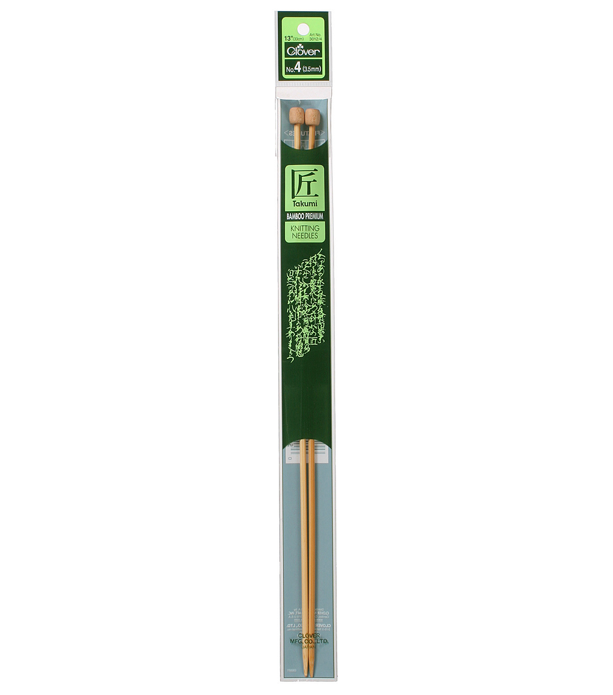 Clover Takumi Bamboo Knit Needle-Single Pt. 13\u0022-Size 4