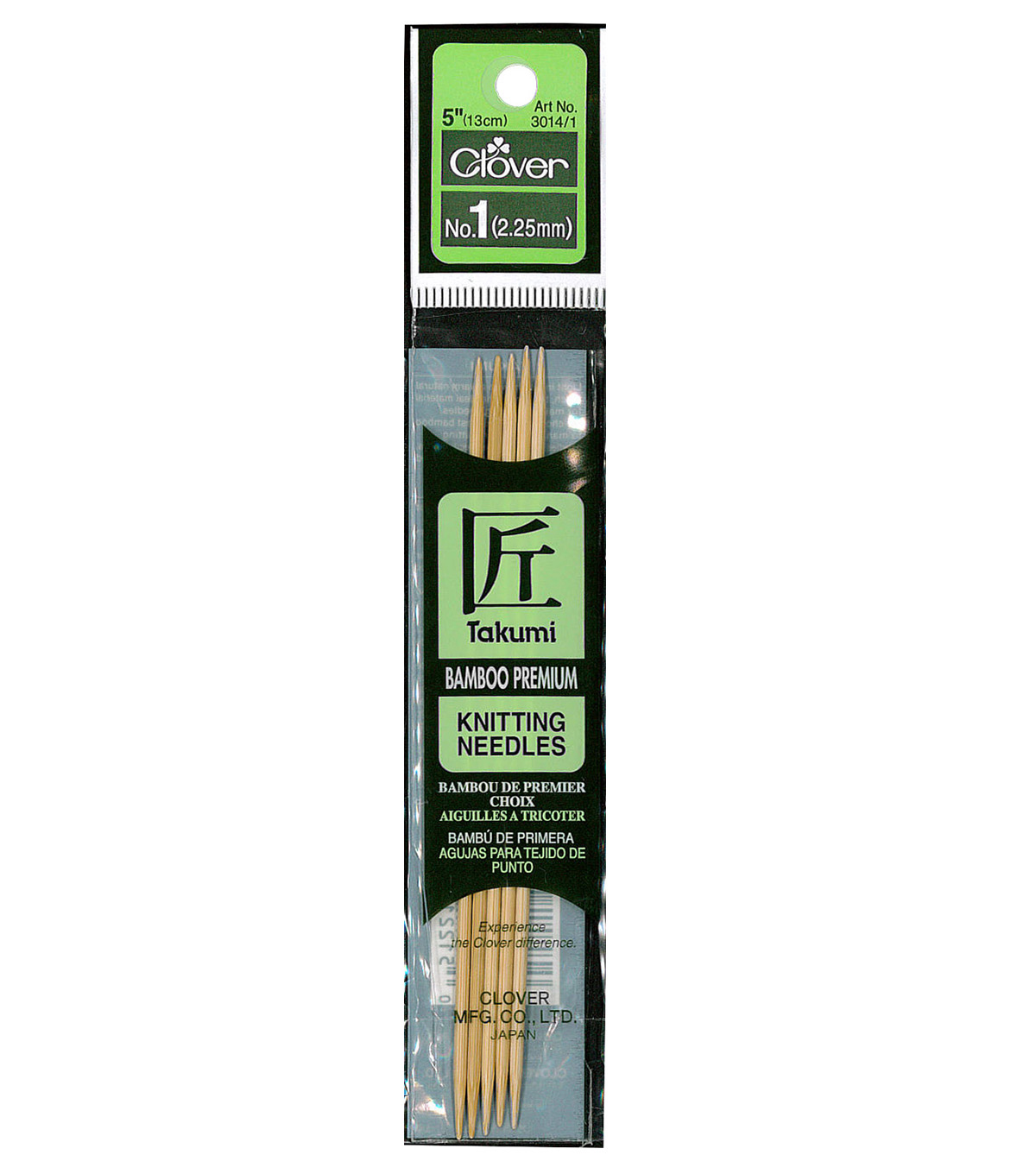 Clover Bamboo Double Point Knitting Needles 5\u0022 Set Of 5-Size 1