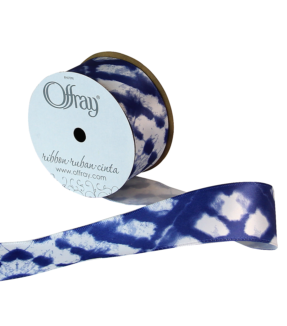 Offray 1.5\u0022x9\u0027 Got the Blues Abstract Single Faced Satin Wired Edge Ribbon-Royal