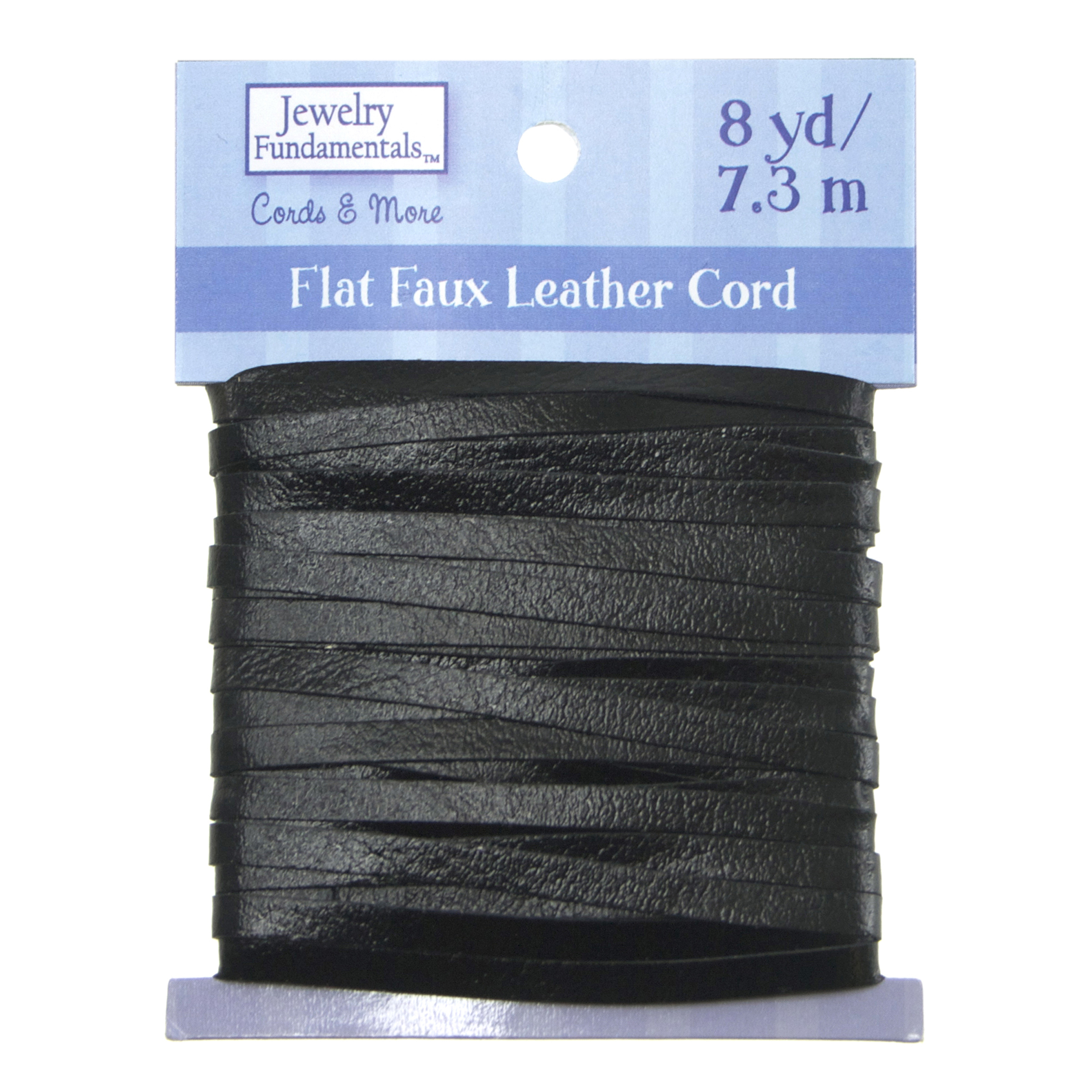 Jewelry Fundamentals Cords&More Flat Faux Leather Cord- Black Shiny