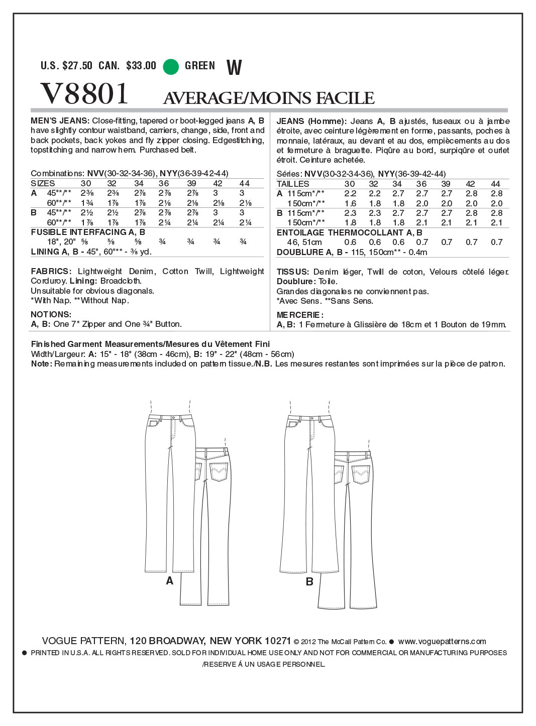 Vogue Patterns Mens Pants-V8801