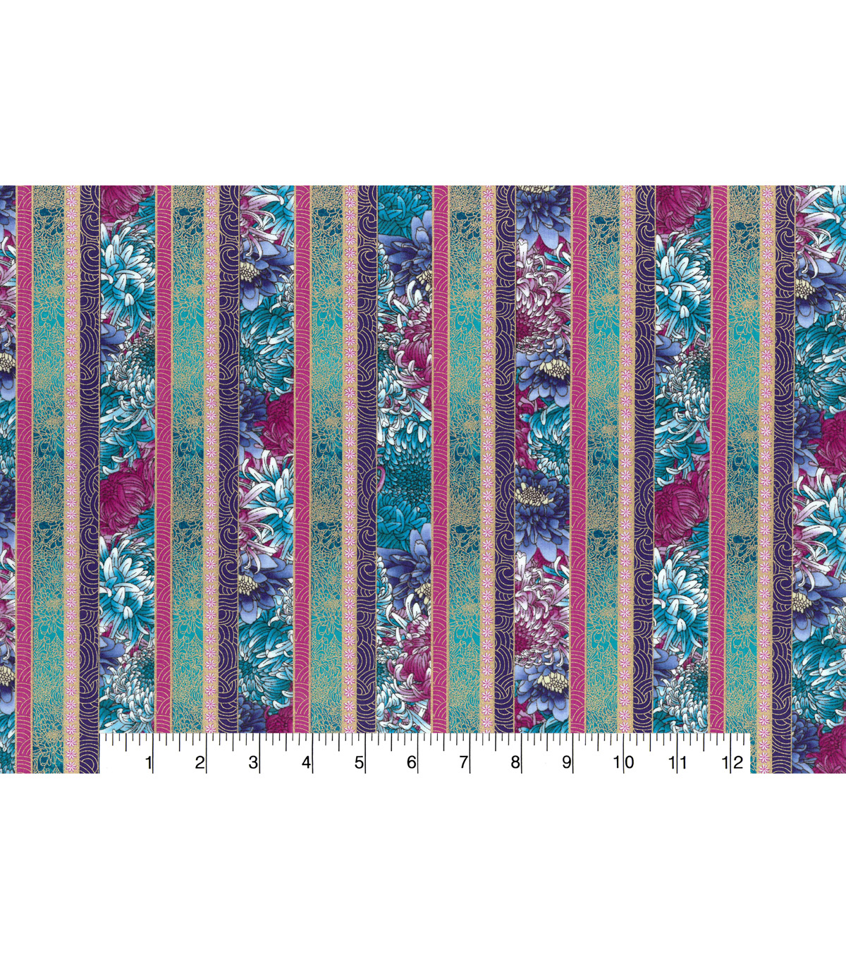 Asian Inspired Cotton Fabric 43\u0022-Asian Floral Stripe Metallic