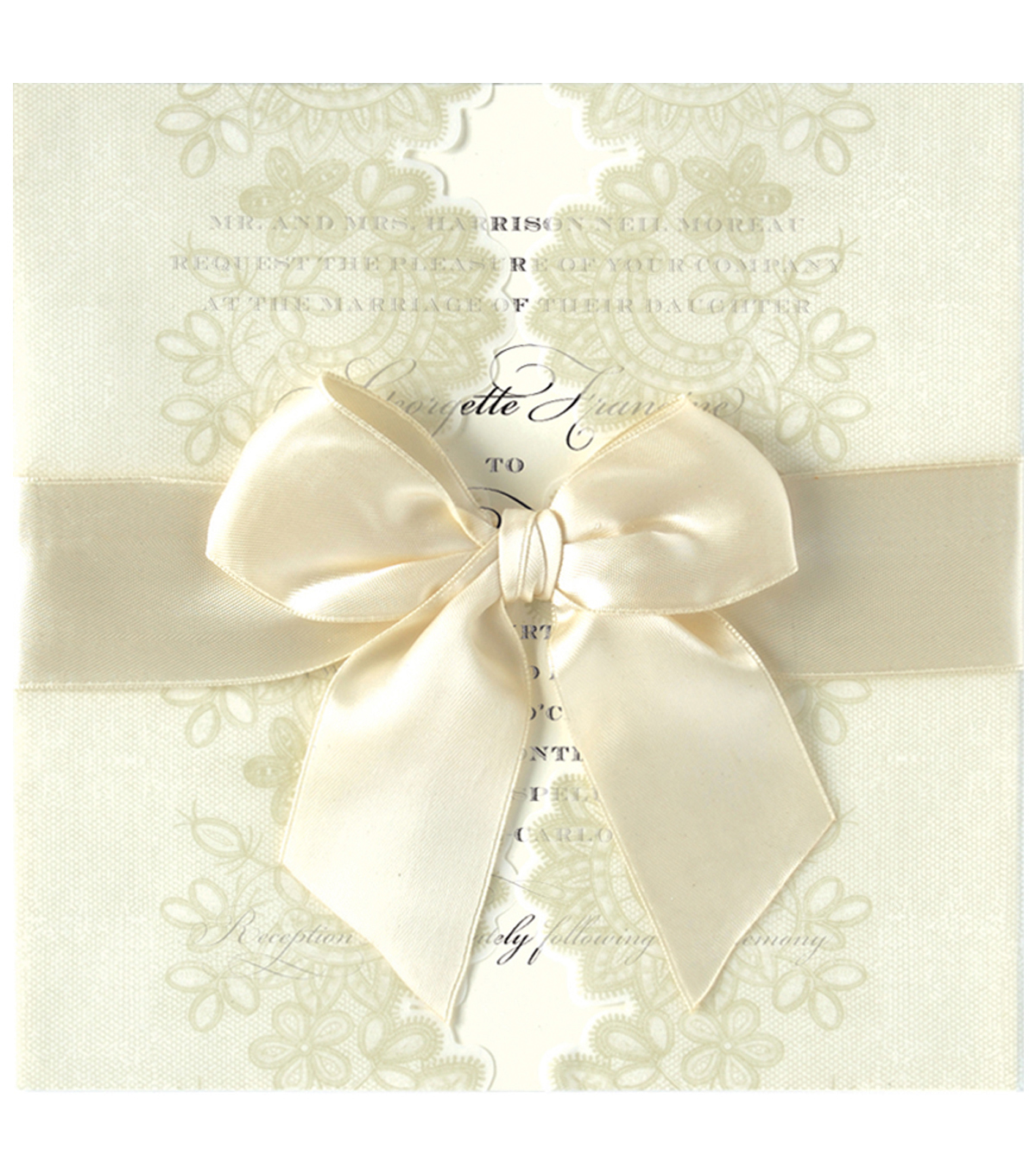 Anna Griffin Ivory Vellum Lace Gatefold Custom Invitation
