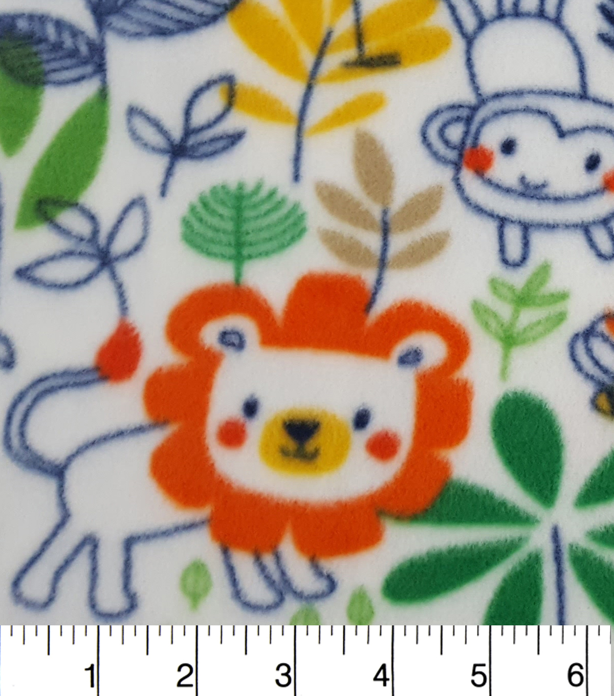 "Anti-Pill Fleece Fabric 59""-Sketched Jungle Friends"