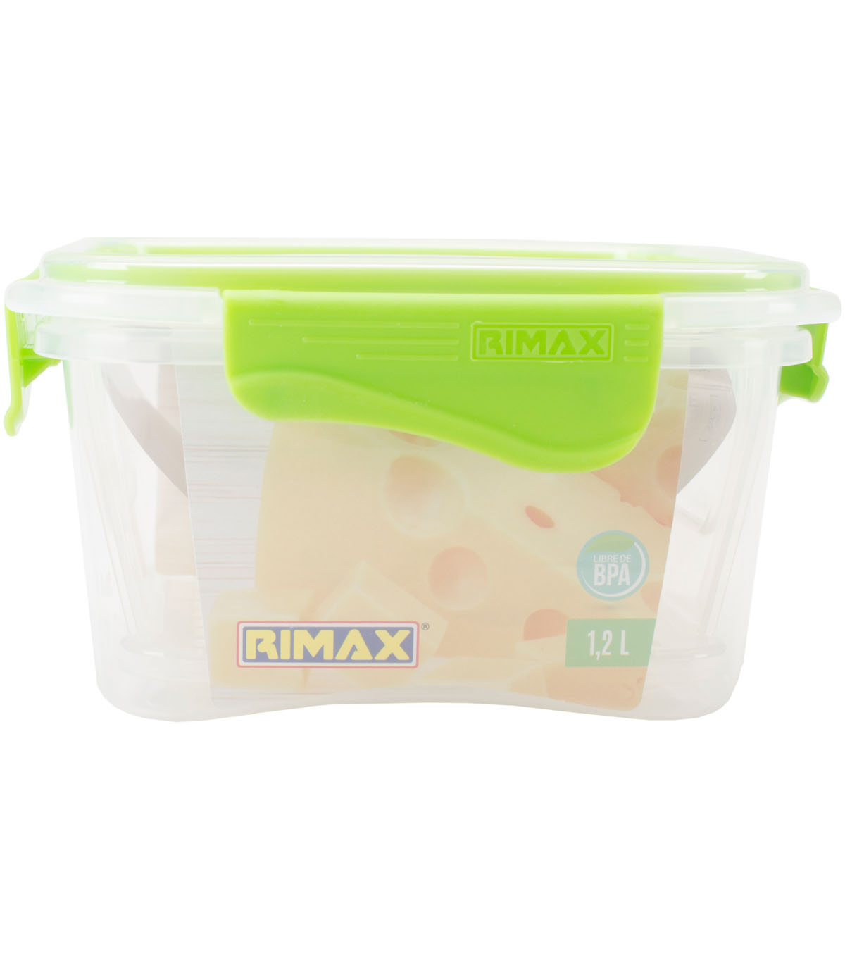 Rimax 41 oz. Food Storage Container with Grid-Clear & Lime