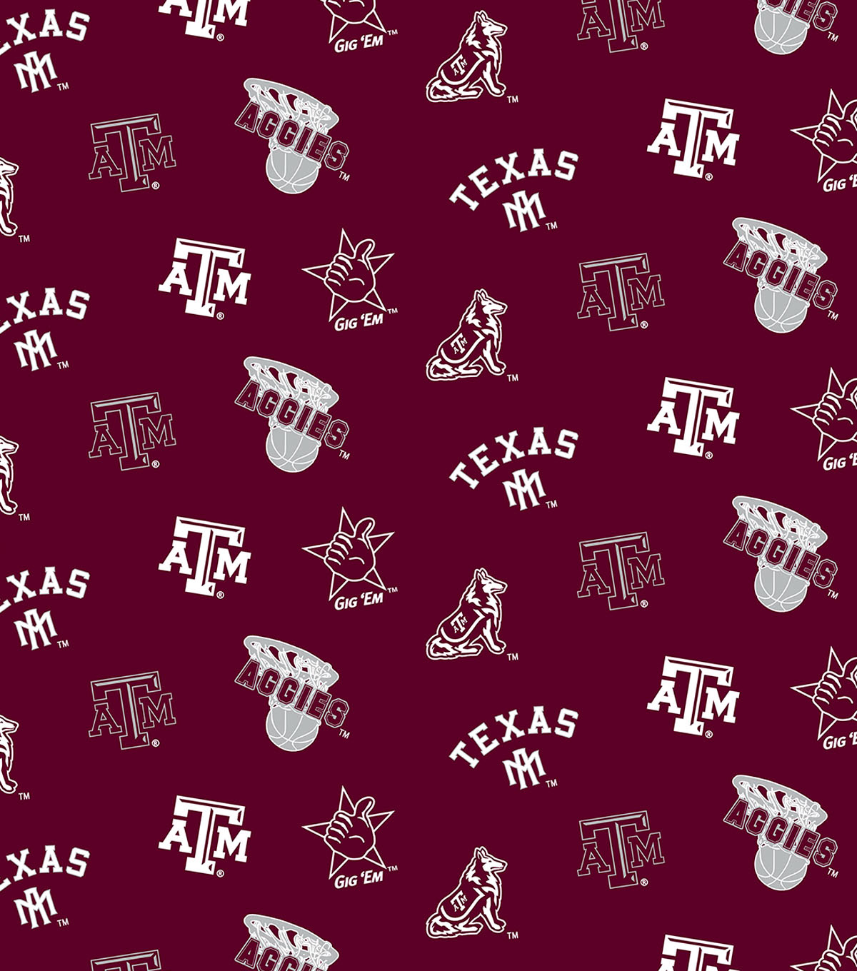 "Texas A&M University Aggies Cotton Fabric 44""-Red All Over"