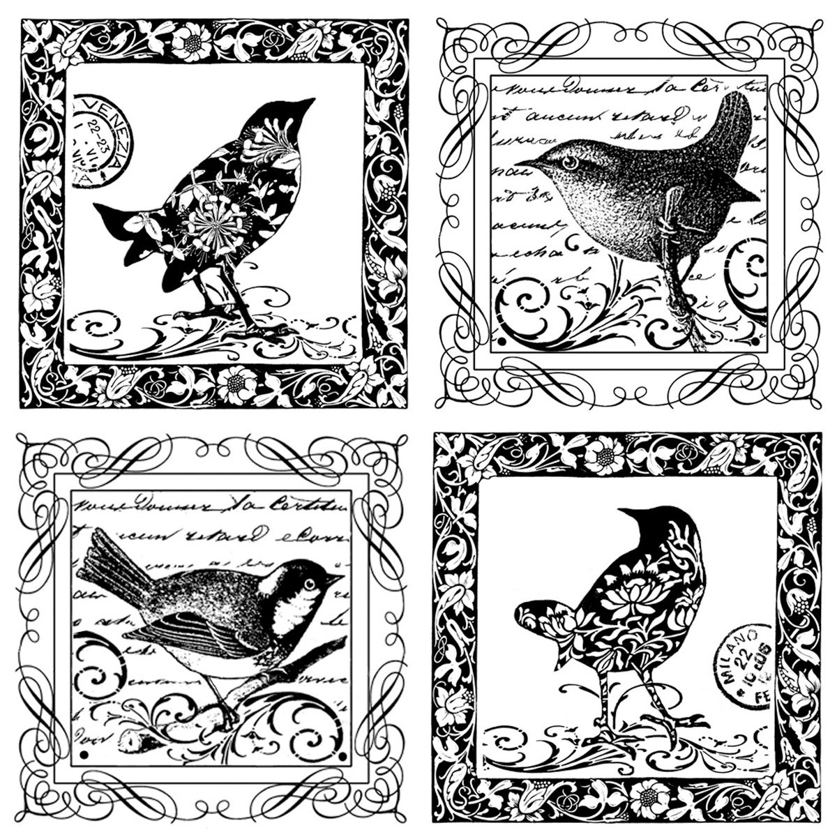 4songbirds-unmounted Rubber Stp