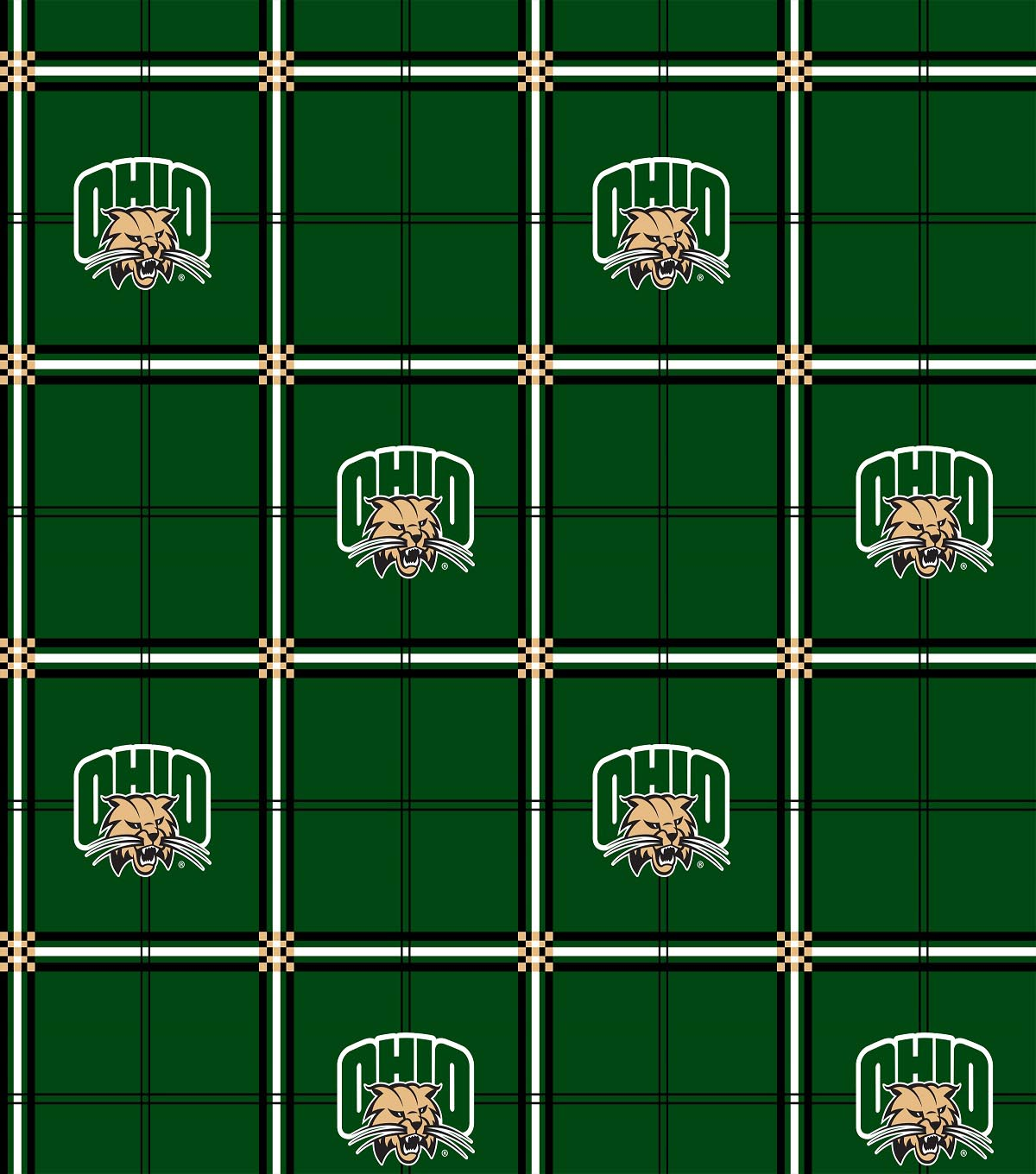 Ohio University Bobcats Flannel Fabric 42\u0022-Plaid