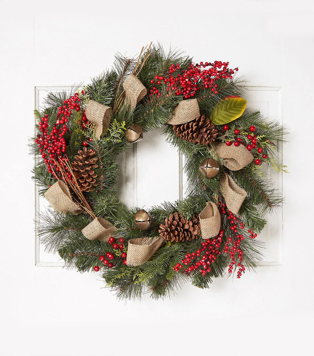 Blooming Holiday 22'' Pinecone, Bell, Burlap & Berry Wreath