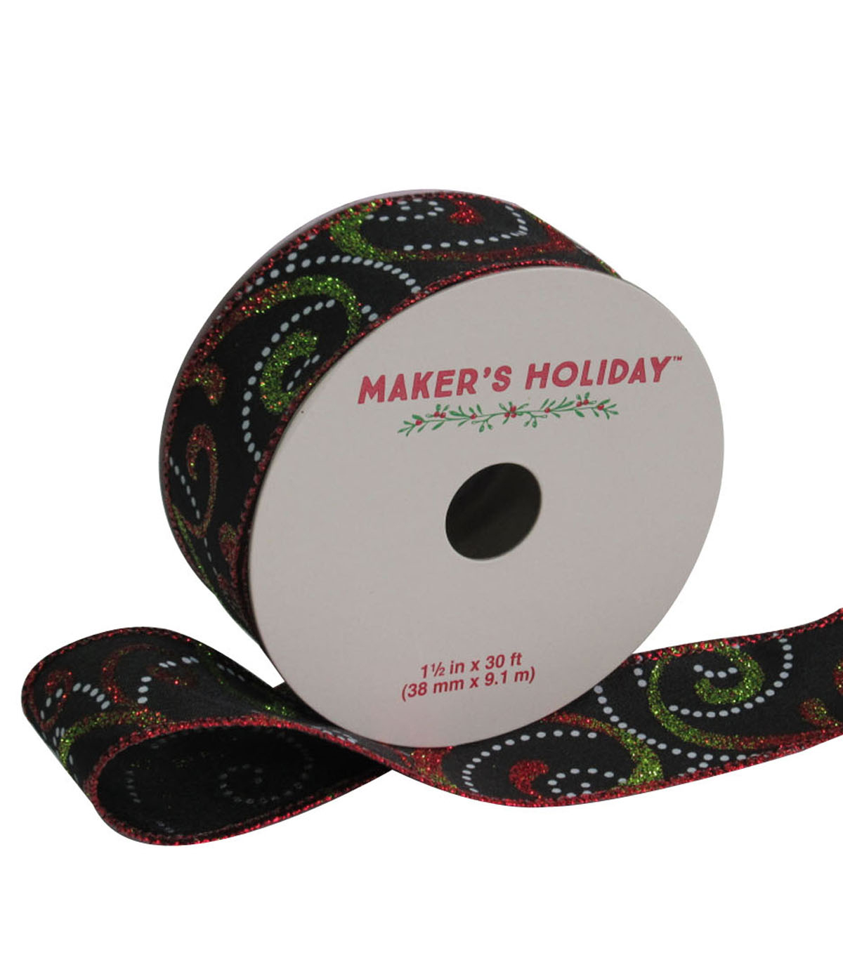 Maker\u0027s Holiday Swirl Ribbon With Glitter 1.5\u0027\u0027x30\u0027-Red Green & White