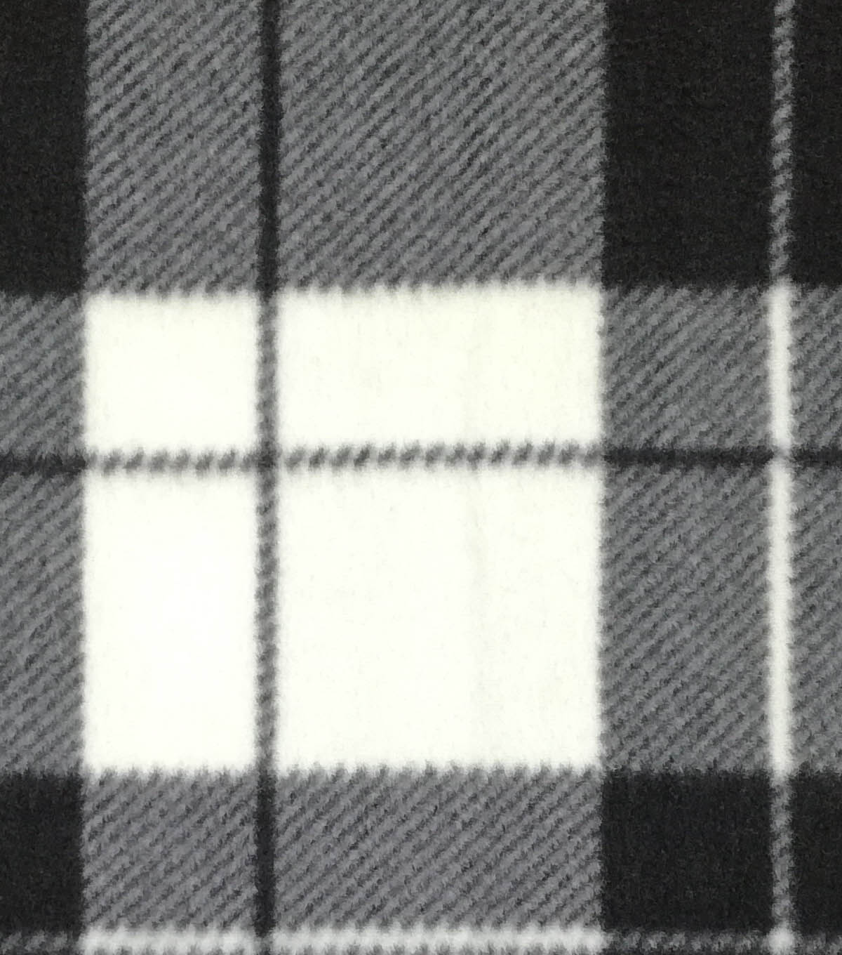 Anti-Pill Fleece Fabric 59\u0022-Hensley Plaid White Black