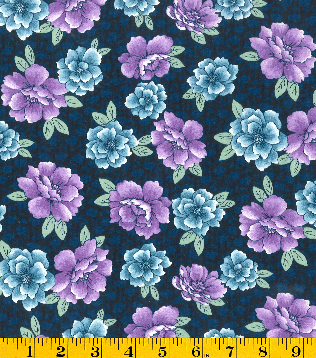 Made In America Cotton Fabric-Main Floral Blue