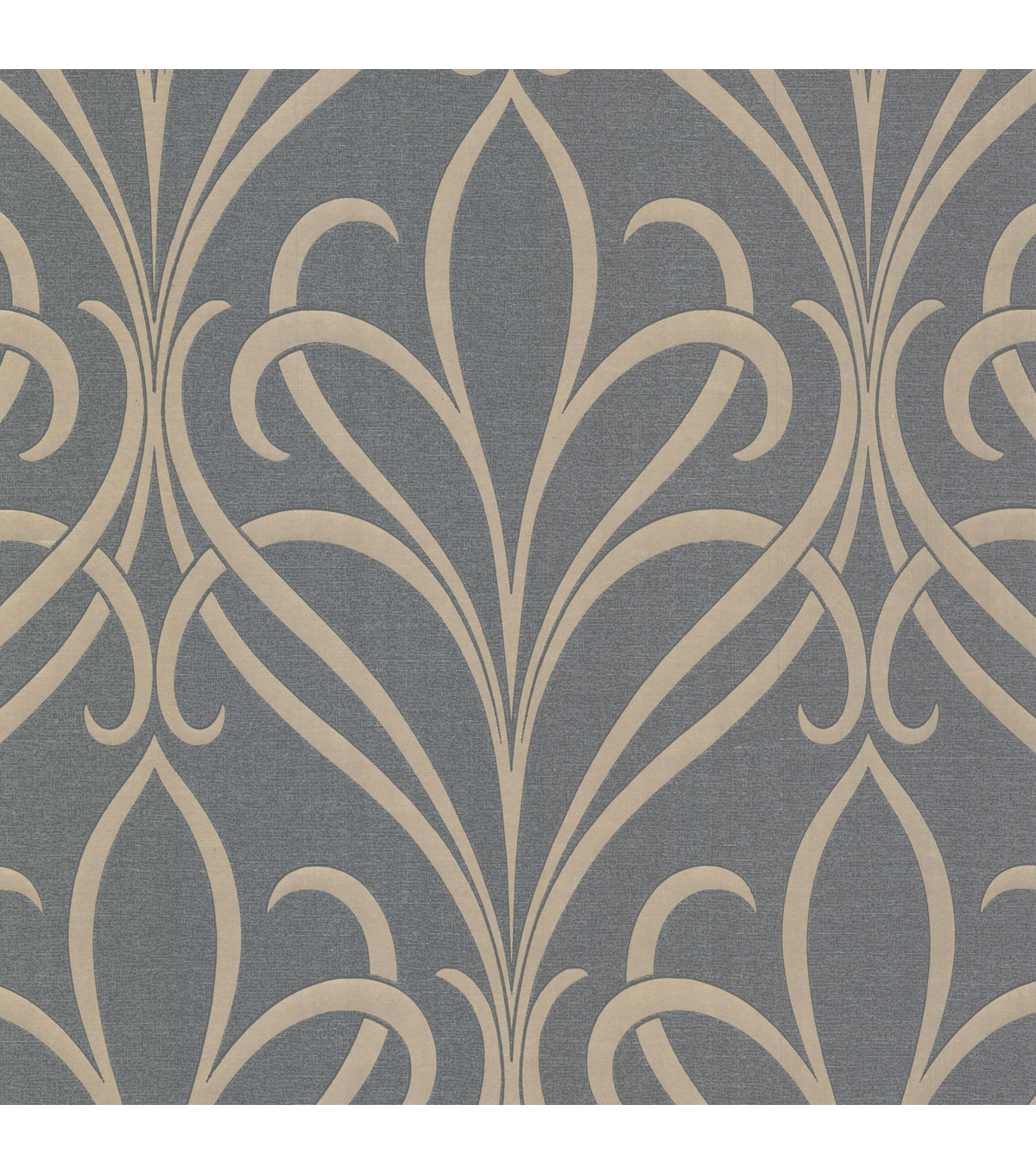 Lalique Silver Nouveau Damask Wallpaper Sample