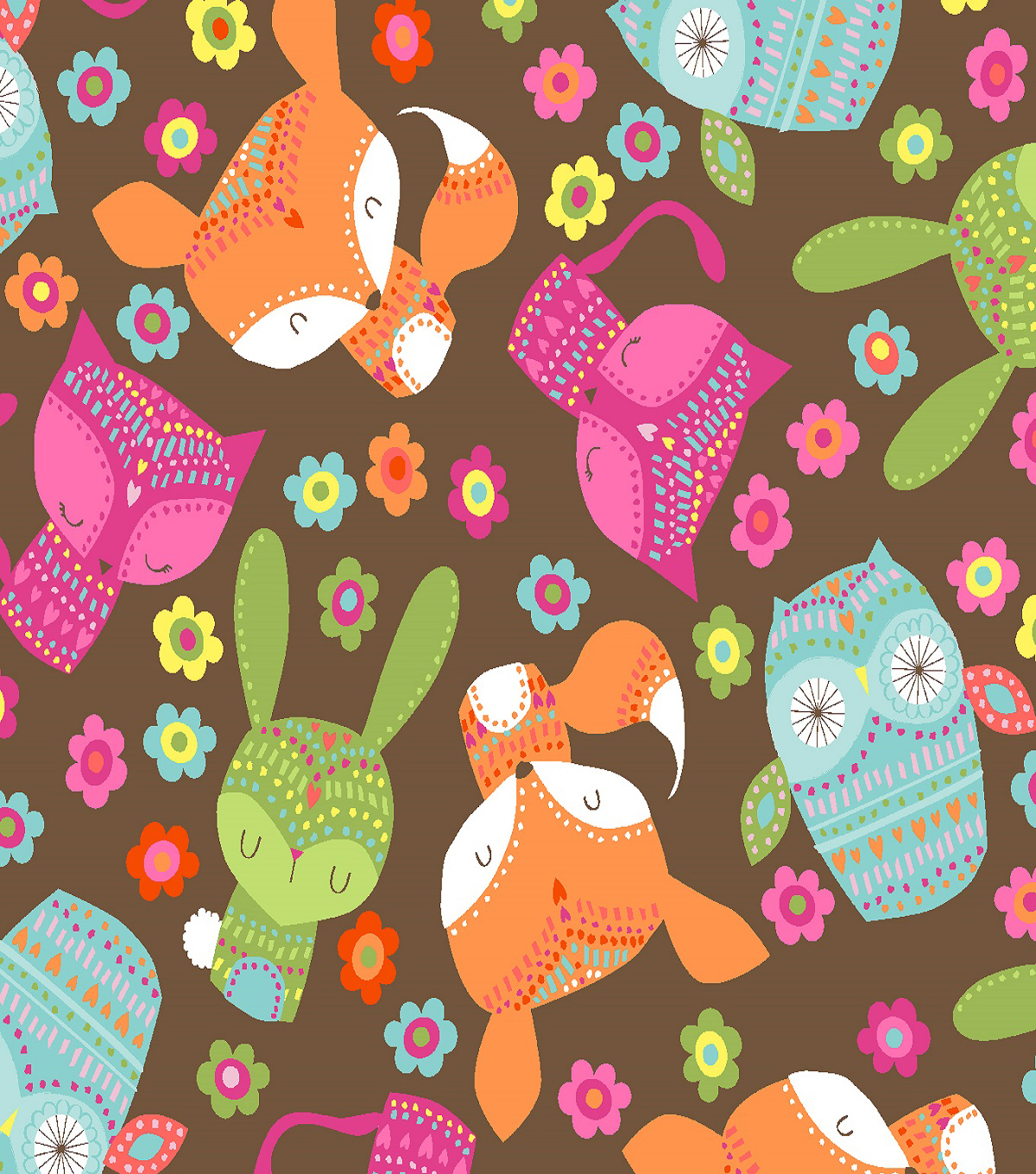 Fabric-Central Cotton Fabric-Meeyo Brown Animals