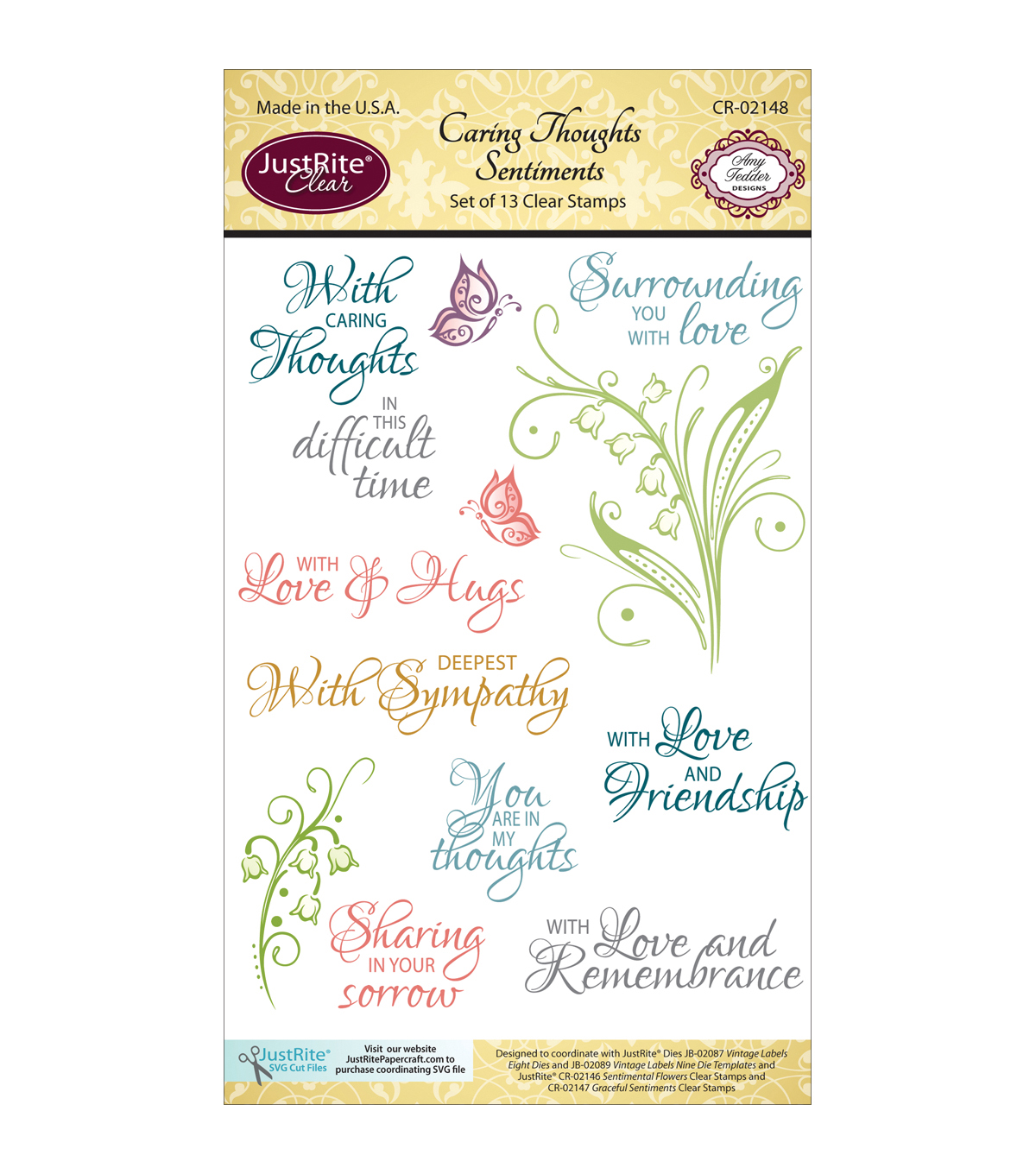 JustRite Papercraft Caring Thoughts Clear Stamp Set