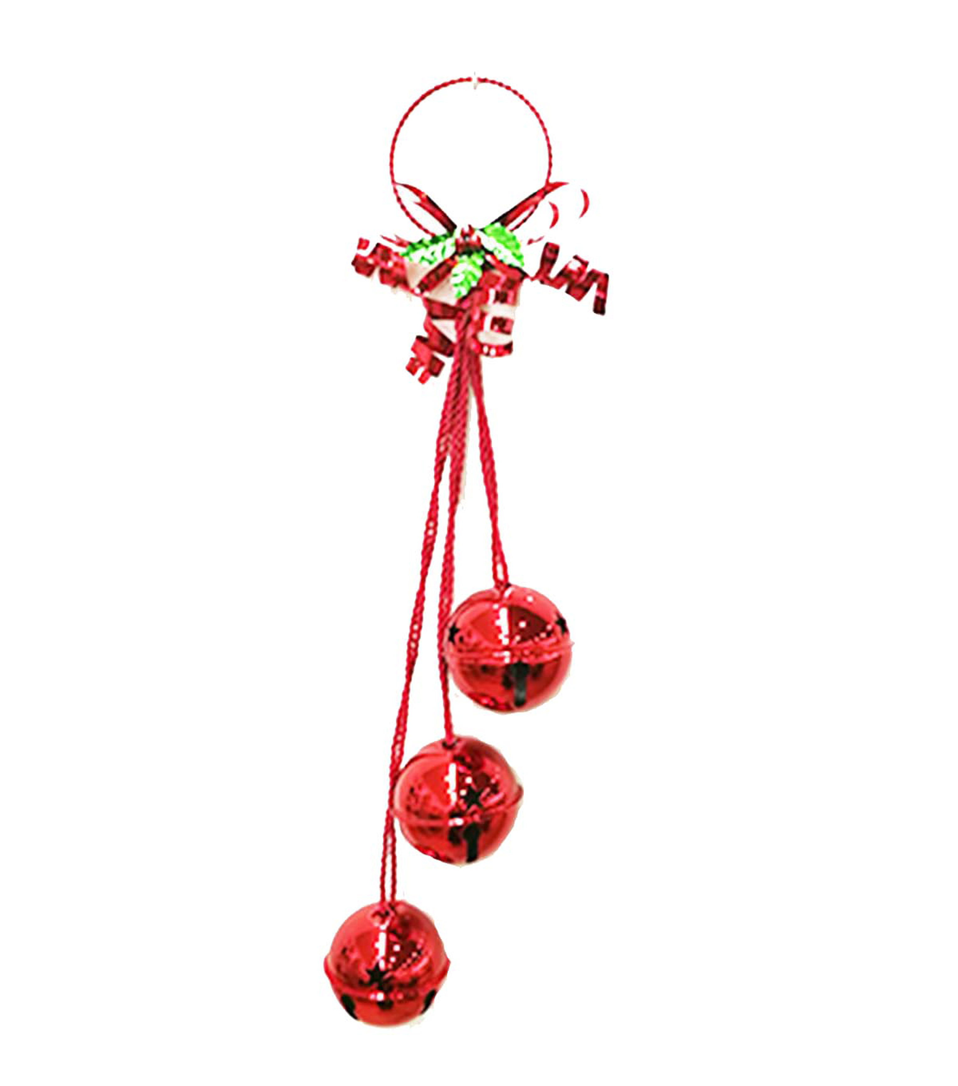 Maker\u0027s Holiday Christmas 3-piece Jingle Bell Door Knocker-Red