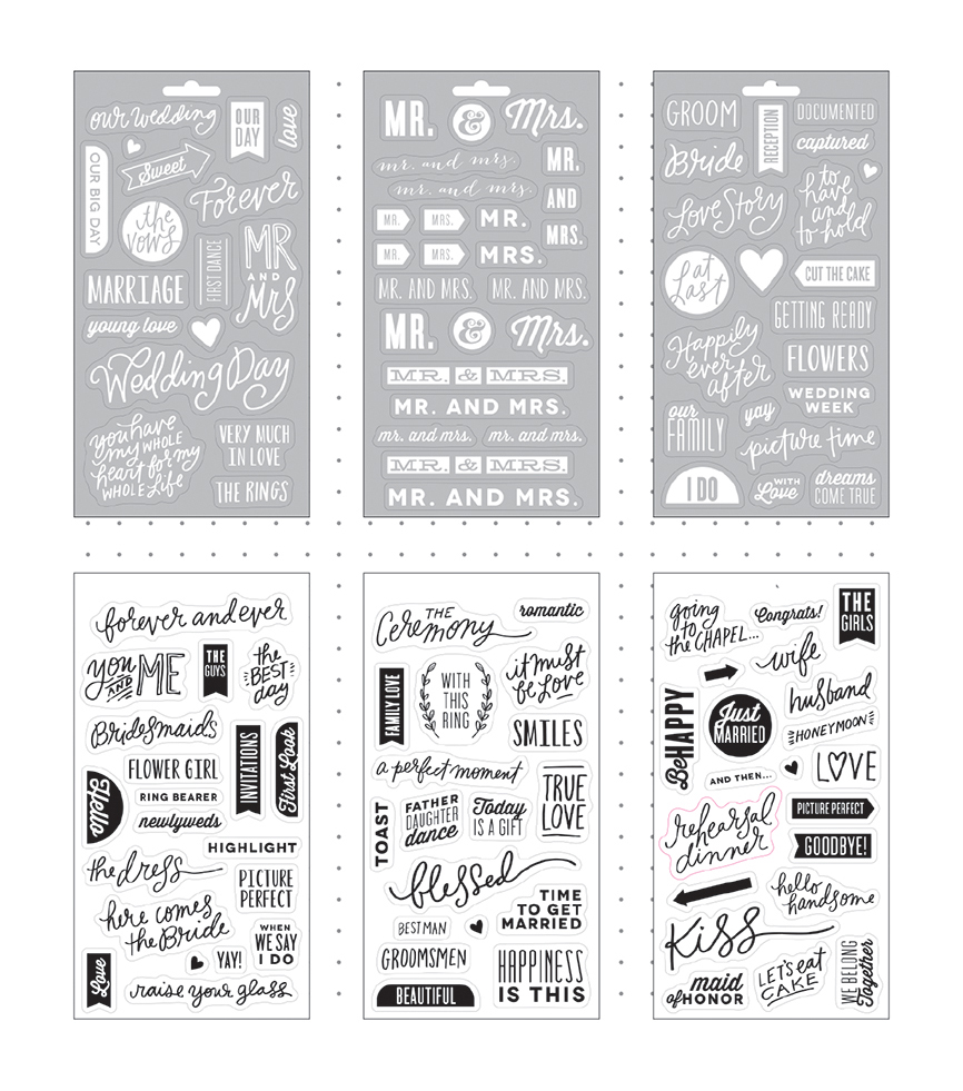 Me & My Big Ideas Pocket Pages Clear Stickers 6 Sheets/Pkg-Our Wedding Day