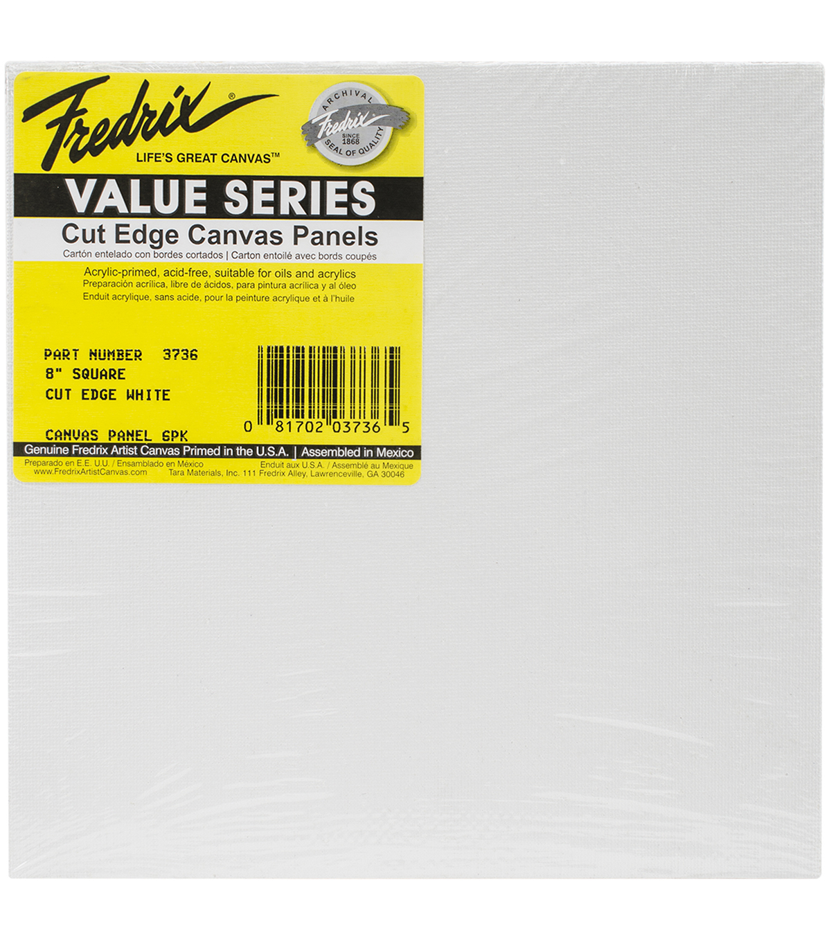 Tara Fredrix Square Cut Edge Canvas Panel 6/Pkg-8\u0022