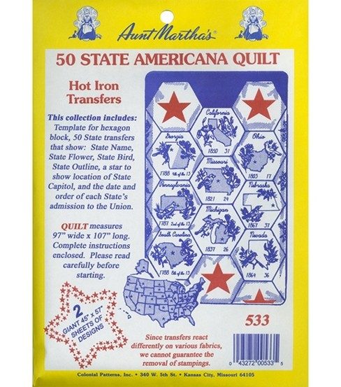 Aunt Martha Transfer Pattern Collections 50 State Americana Quilt