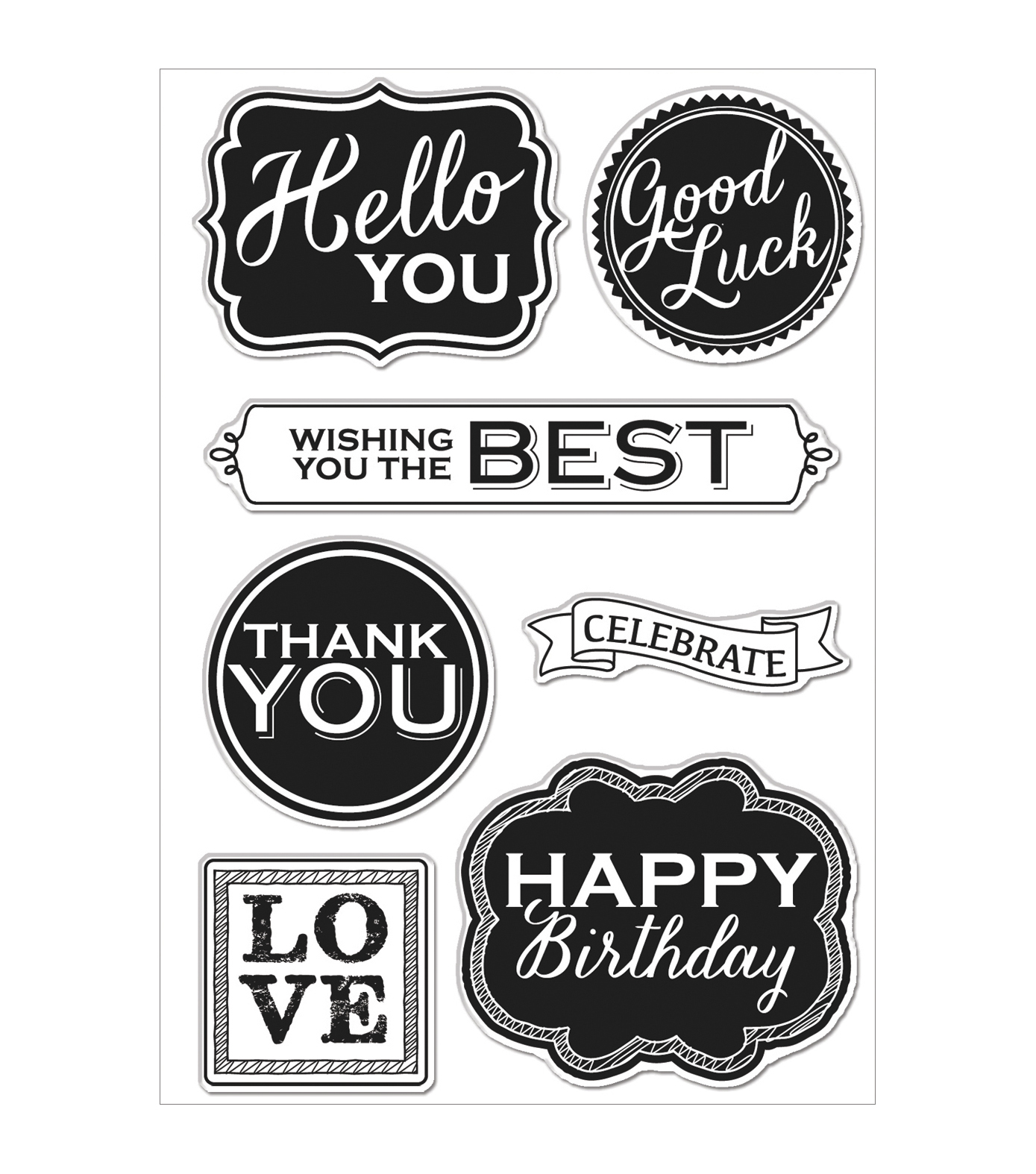 Hero Arts Chalkboard Style Messages Clear Stamps