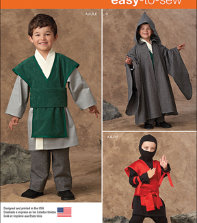 Simplicity Patterns 1037A Boys\u0027 Easy to Sew Costumes-Size 3-4-5-6-7-8