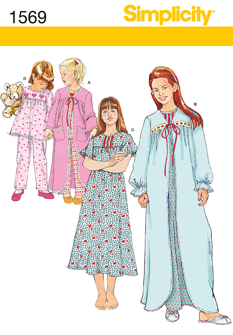 Simplicity Pattern 1569KK 7-8-10-12 -Child Girl Sleepwear