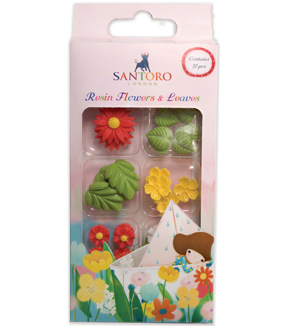 Santoro Kori Kumi II Mini Resin Flowers & Leaves-Assorted Colors