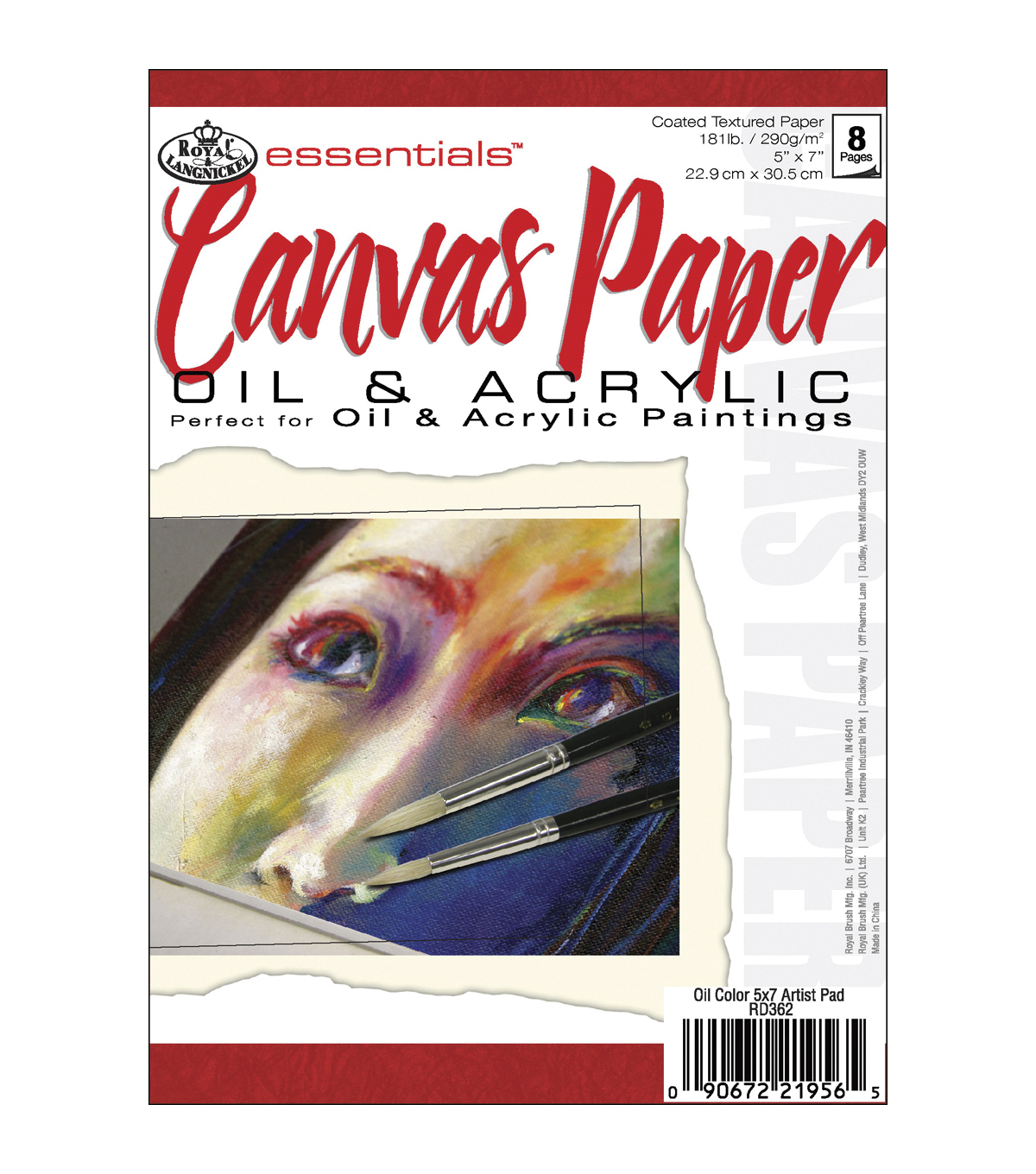 Royal Brush Essentials Canvas Paper Pad 5\u0022X7\u0022-8 Sheets