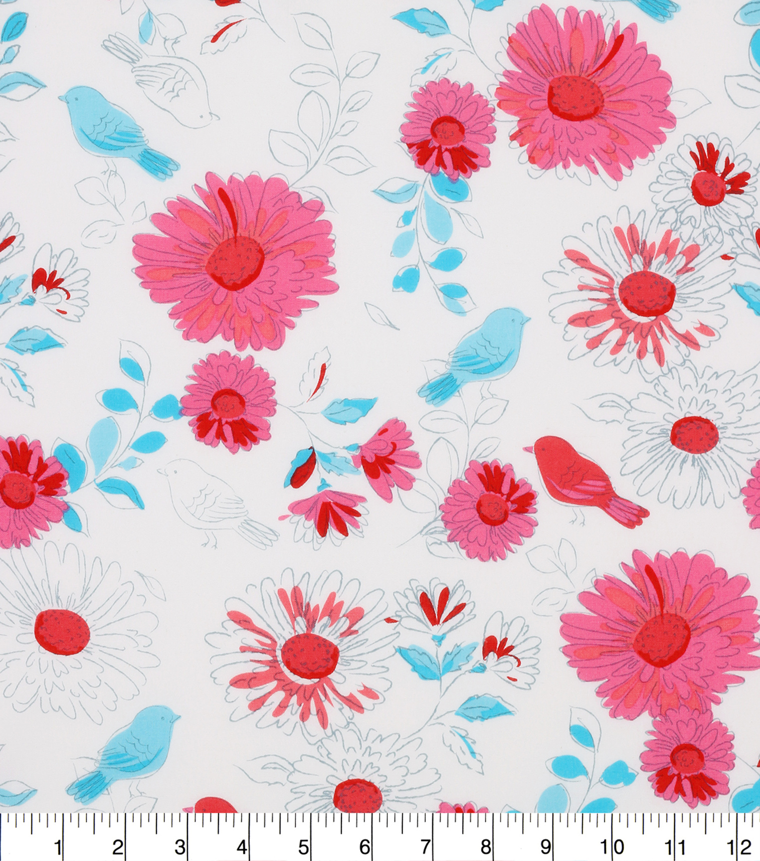 Keepsake Calico™ Cotton Fabric 43\u0022-Pink Blue Birds On Floral