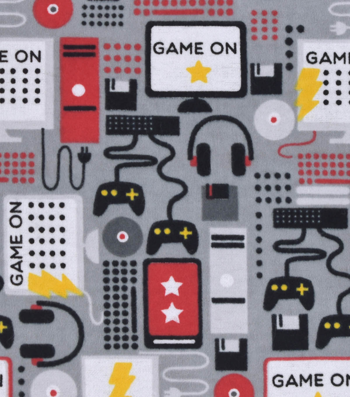 Snuggle Flannel Fabric 42\u0022-Game On Gray