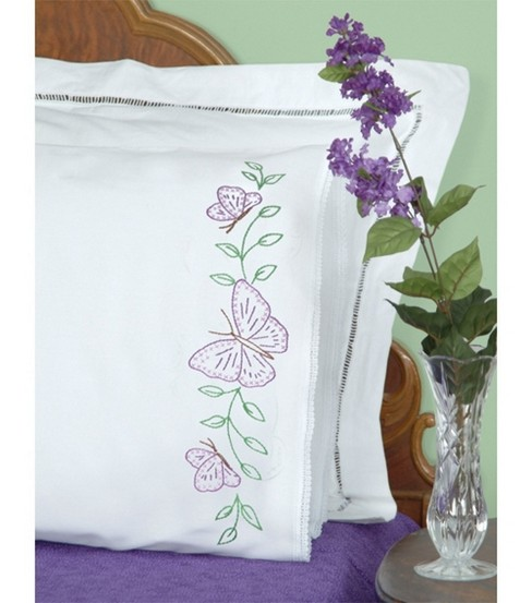 Jack Dempsey Stamped Pillow Cases With White Lace Edge Butterflies