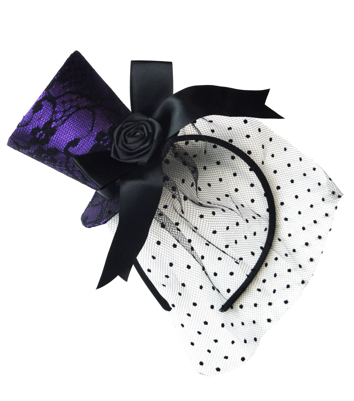 Maker's Halloween Purple Top Hat Fascinator with Black Lace & Net