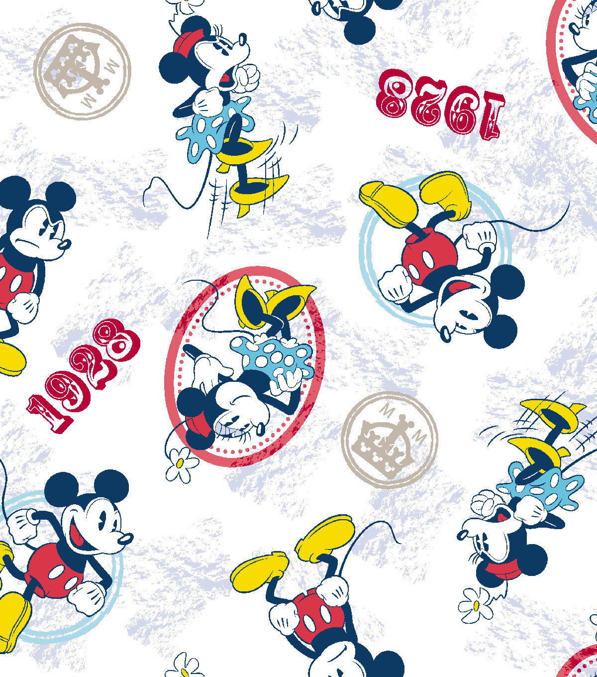 "Disney® Mickey Mouse Cotton Fabric 43""-Mickey and Minnie Vintage Couple"