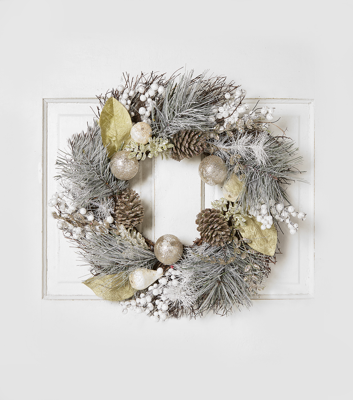 Blooming Holiday 24'' Grapevine, Pinecone & Berry Wreath-Blue & White