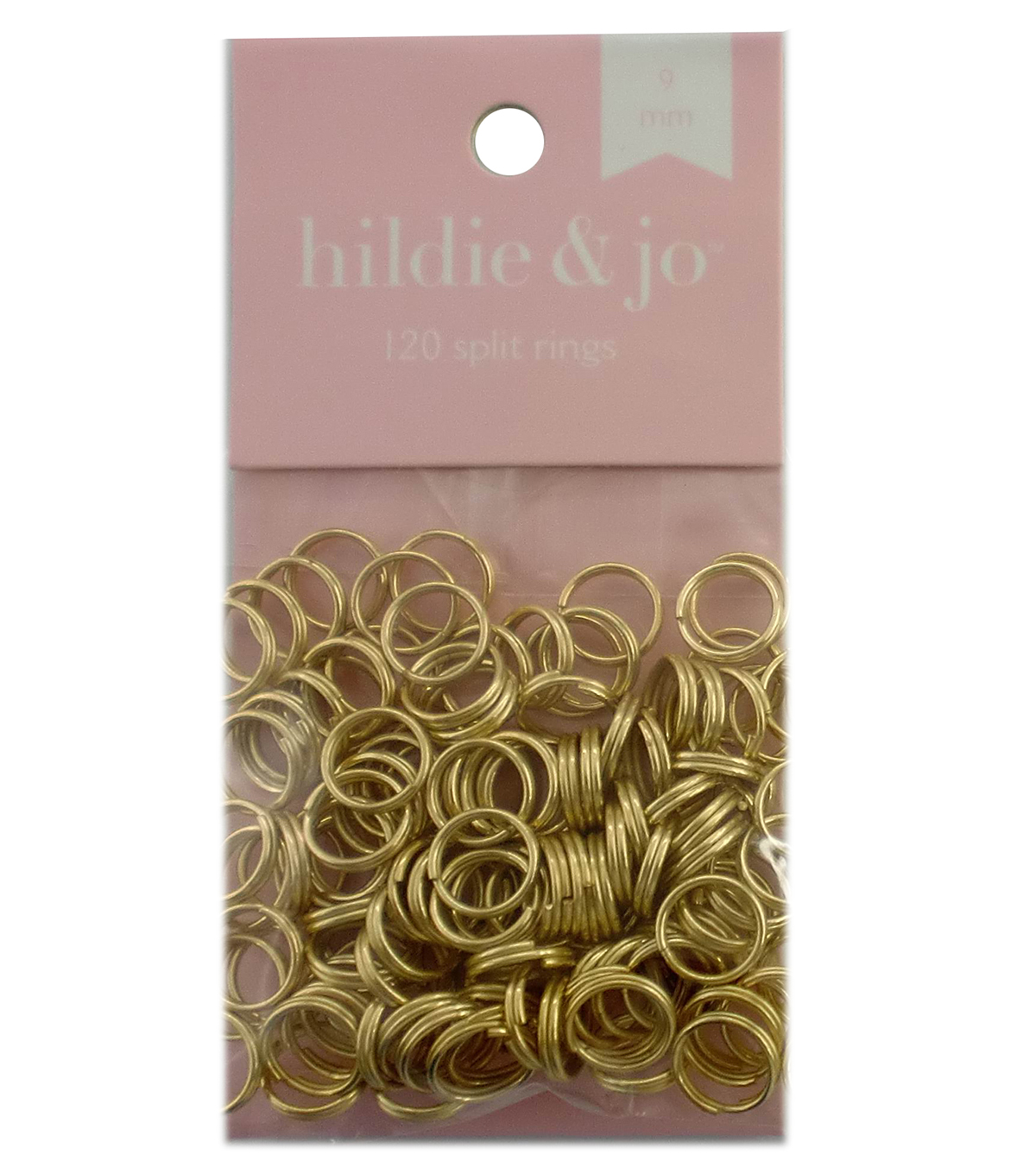 hildie & jo™ 120 Pack 9mm Split Rings-Gold