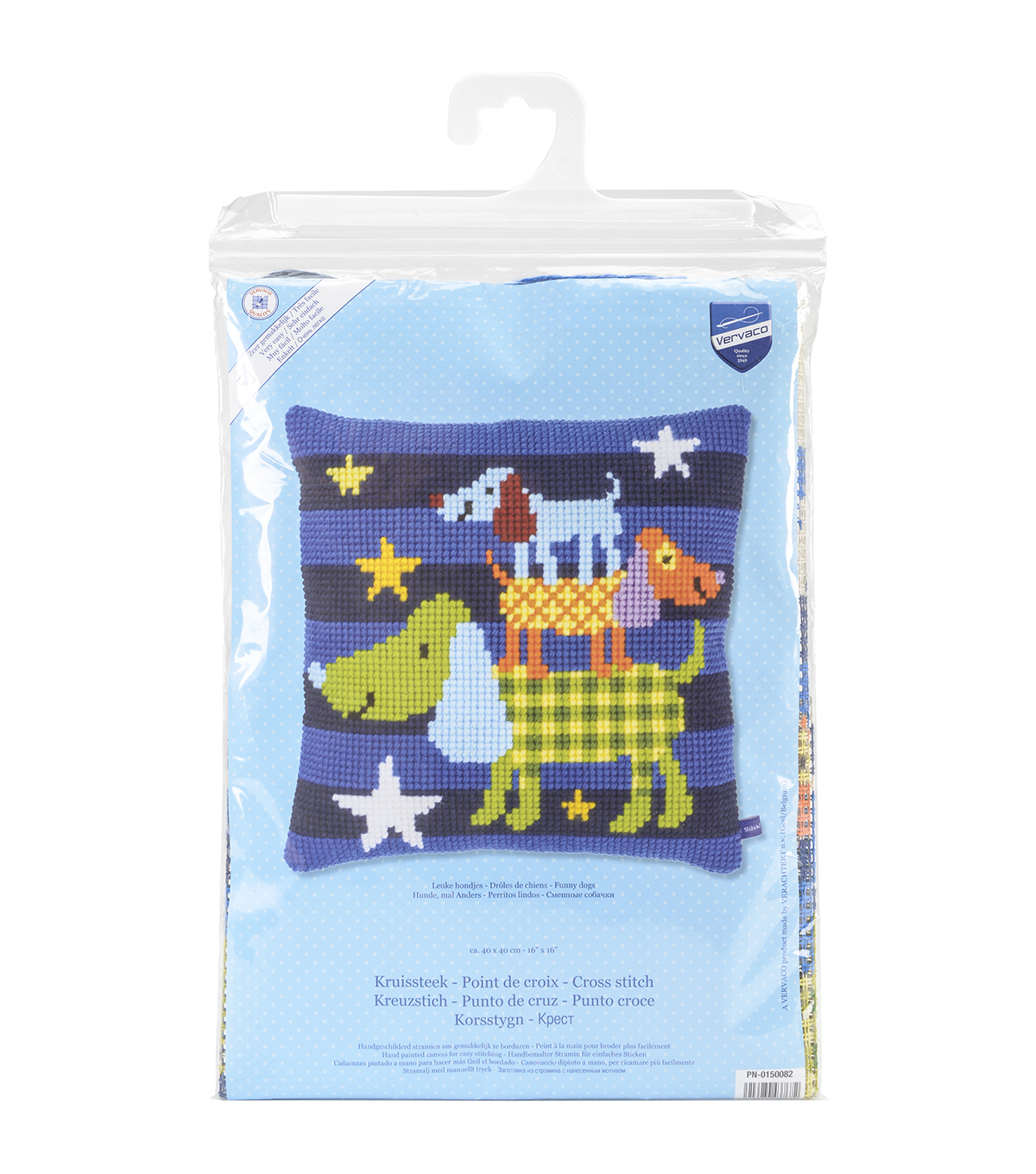 Vervaco Cushion Cross Stitch Kit-Funny Dogs